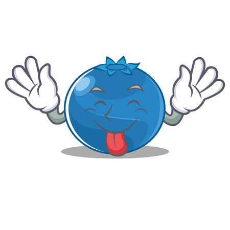 Tongue out blueberry character cartoon style vector illustration