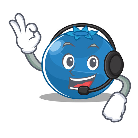 With headphone blueberry character cartoon style vector illustration