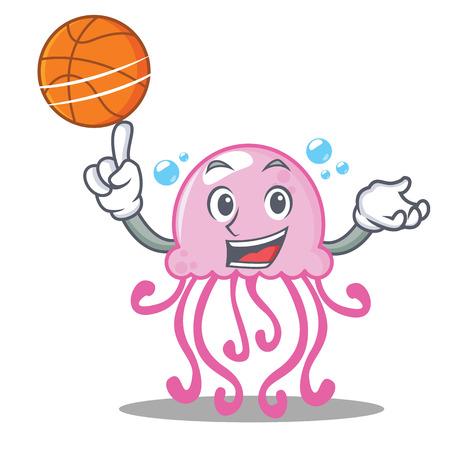 With basketball cute jellyfish character cartoon vector illustration