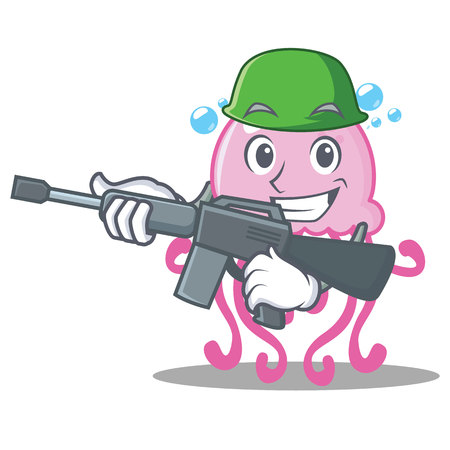 Army cute jellyfish character cartoon vector illustration