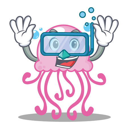 Diving cute jellyfish character cartoon vector illustration