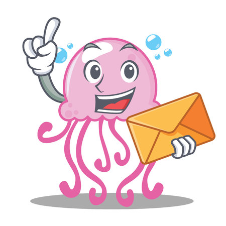 With envelope cute jellyfish character cartoon vector illustration Illustration