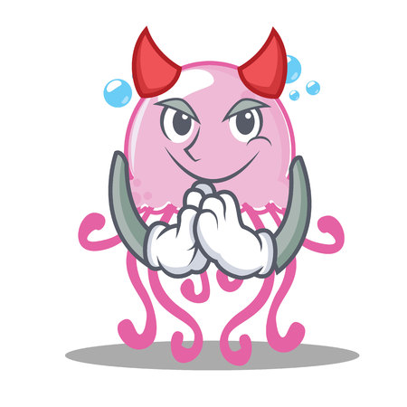 Devil cute jellyfish character cartoon Illustration