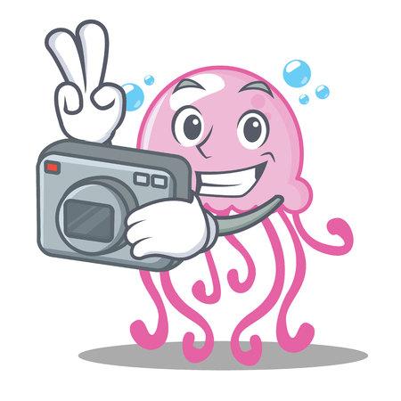 Photographer cute jellyfish character cartoon vector illustration Illustration