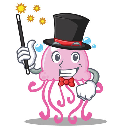 Magician cute jellyfish character cartoon vector illustration
