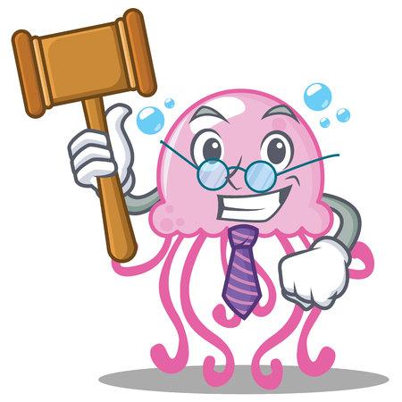 Judge cute jellyfish character cartoon vector illustration