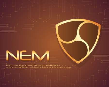 NEM bitcoin background design collection vector illustration Illustration
