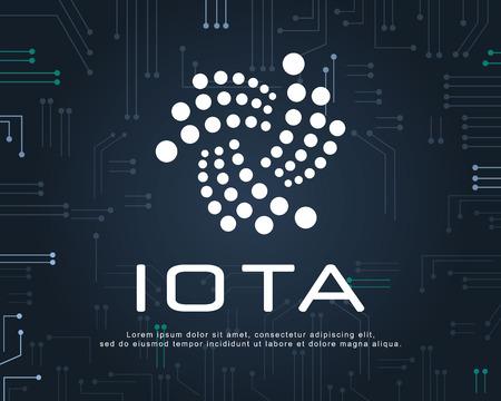 Design blockchain IOTA background style vector illustration