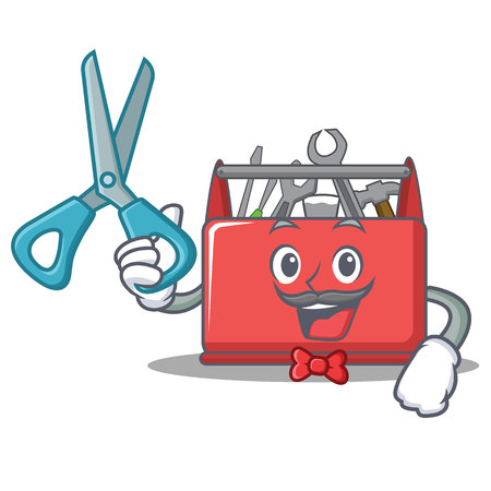 Barber tool box character cartoon vector illustration Illustration