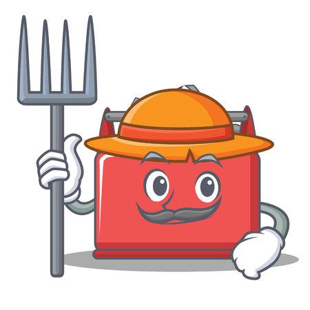 Farmer tool box character cartoon vector illustration Illustration