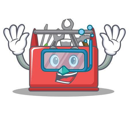 Diving tool box character cartoon vector illustration