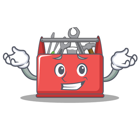 Grinning tool box character cartoon vector illustration. Illustration