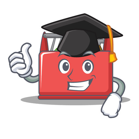 Graduation tool box character cartoon vector illustration.