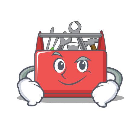 Smirking tool box character cartoon Illustration