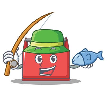 Fishing tool box character cartoon