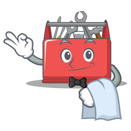 Waiter tool box character cartoon vector illustration