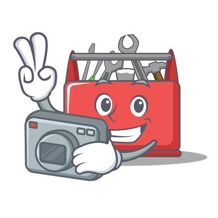 Photographer tool box character cartoon vector illustration Illustration