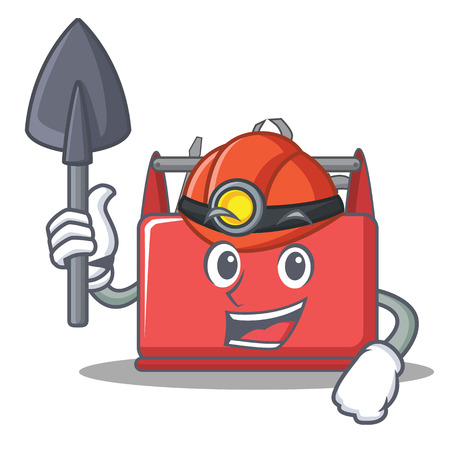 Miner tool box character cartoon vector illustration. Illustration
