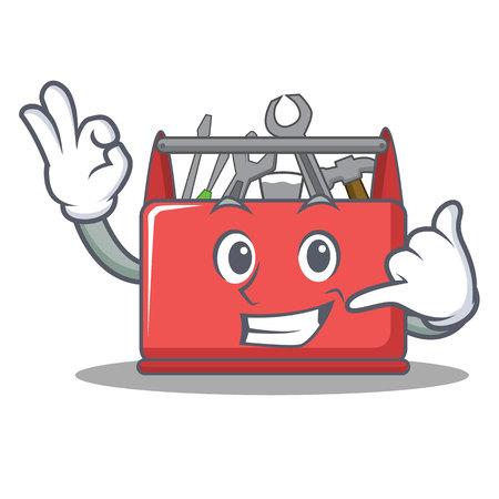 Call me tool box character cartoon Illustration