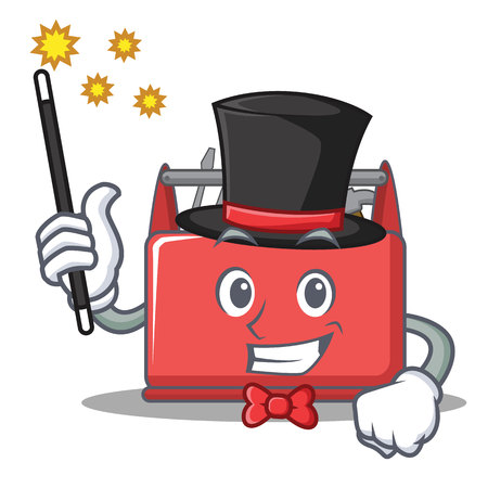 Magician tool box character cartoon vector illustration