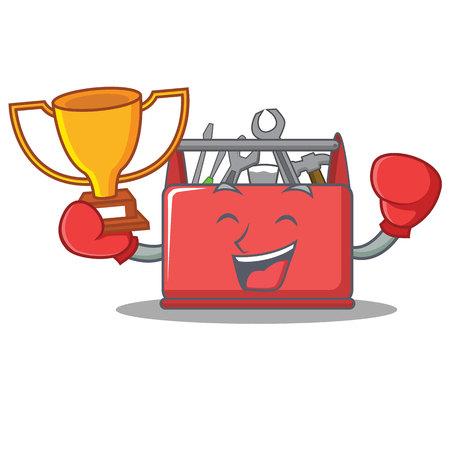 Boxing winner tool box character cartoon vector illustration