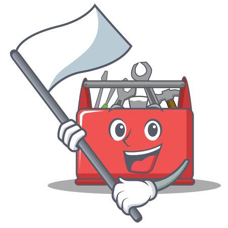 With flag tool box character cartoon vector illustration