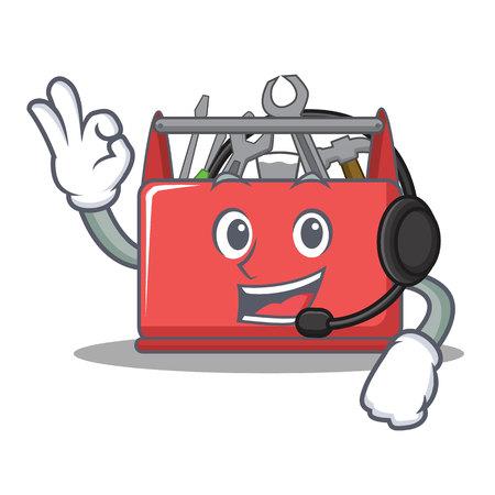 With headphone tool box character cartoon vector illustration Illustration