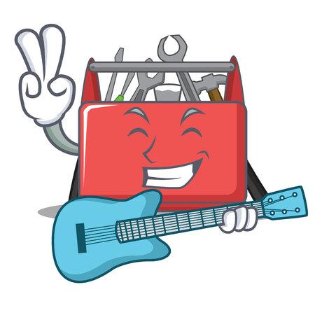 With guitar tool box character cartoon vector illustration Illustration