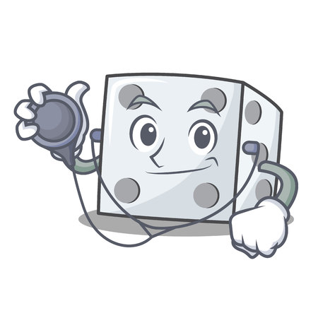 Doctor dice character cartoon style vector illustration