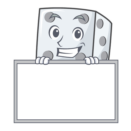Grinning with board dice character cartoon style vector illustration