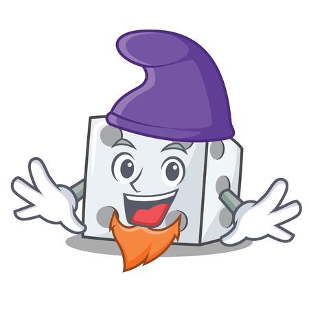 Elf dice character cartoon style vector illustration. Çizim
