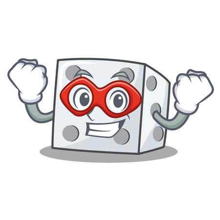 Super hero dice character cartoon style vector illustration