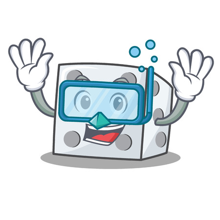 Diving dice character cartoon style vector illustration