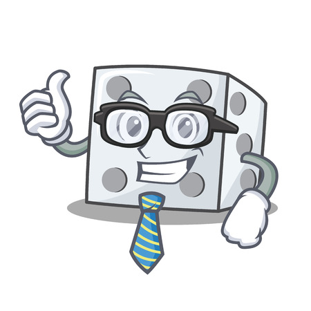 Businessman dice character cartoon style vector illustration