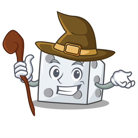 Witch dice character cartoon style vector illustration
