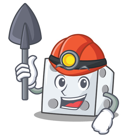 Miner dice character cartoon style vector illustration