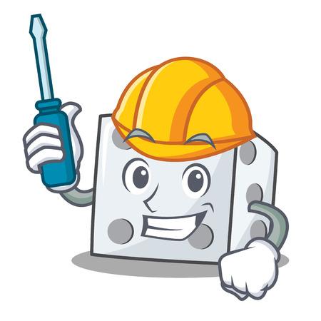 Automotive dice character cartoon style vector illustration