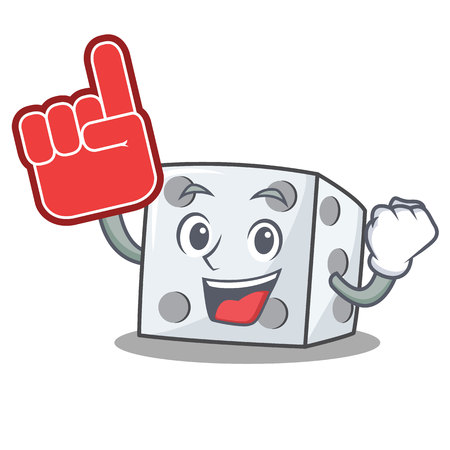 Foam finger dice character cartoon style vector illustration Illustration