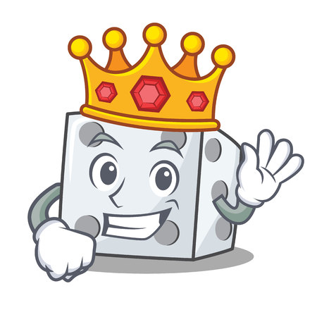 King dice character cartoon style vector illustration Vectores