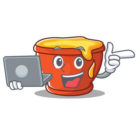 With laptop honey character cartoon style vector illustration Illustration