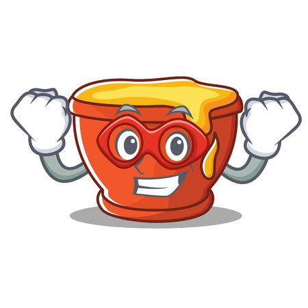 Super hero honey character cartoon style illustration.