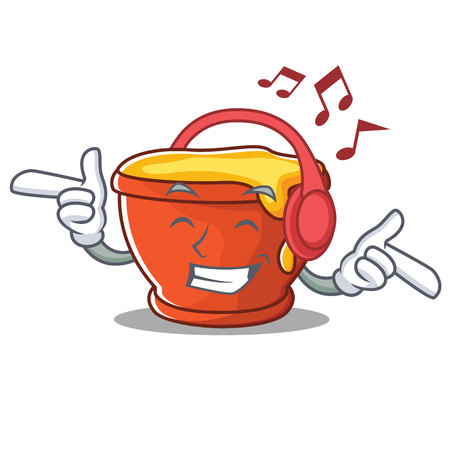Listening music honey character cartoon style vector illustration.