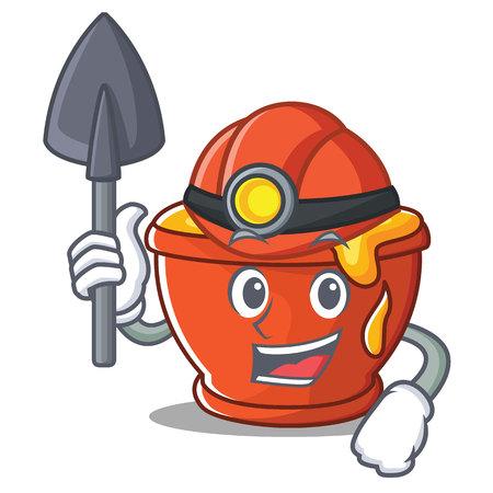 Miner honey character cartoon style vector illustration.