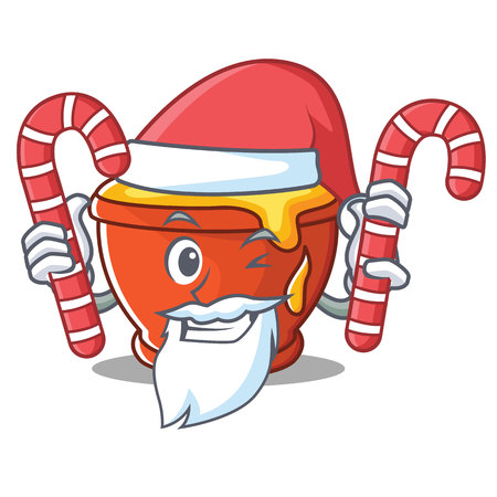 Santa with candy honey character cartoon style illustration.