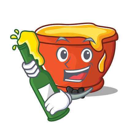 With beer honey character cartoon style vector illustration