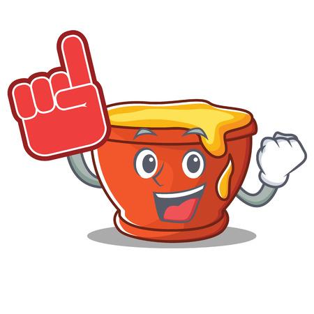 Foam finger honey character cartoon style vector illustration.