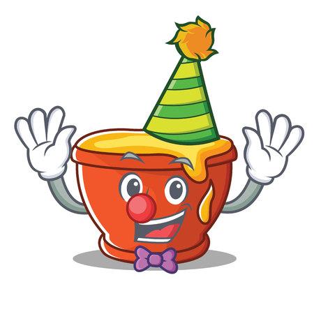 Clown honey character cartoon style vector illustration.