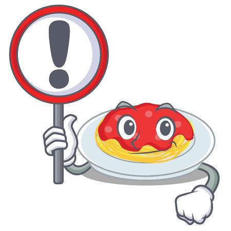 With sign spaghetti character cartoon style vector illustration. Illustration