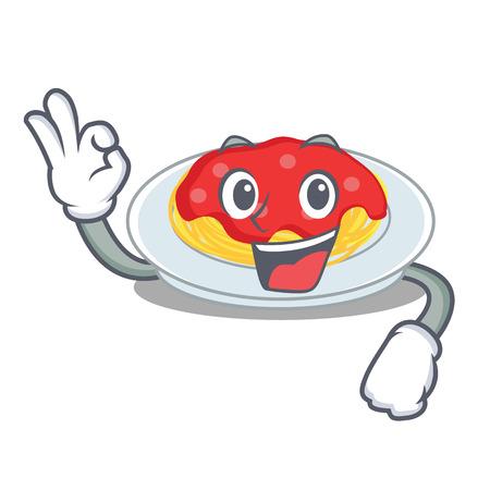 Okay spaghetti character cartoon style vector illustration.
