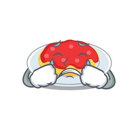 Crying spaghetti character cartoon style illustration.